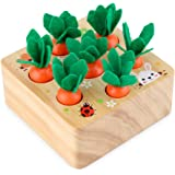PEXWELL Wooden Toys for 1 Year Olds Toddler, Montessori Plugging Toys, Carrots Sorting Game Early Learning Preschool Educatio