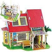 木製 夢の別荘 ドリームハウス 3D立体パズル ジグソーパズル 家/部屋プラモデル 子供 知育玩具 (A)