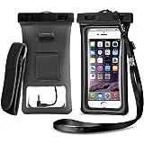 フローティングエアバッグインフレータブルタッチスクリーン透明ヘッドフォン携帯電話防水バッグIPX8防水6.4インチまでのすべてのスマートフォン用TPU素材(3色から選択可能) (黒)