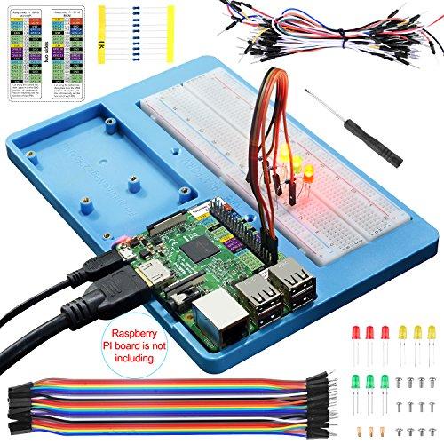 UNIROI 7点セット arduino/Raspberry Pi用セット RABホルダー 830点ブレッドボード ジャンパーワイヤー GPIO参照カード 抵抗 LED 初心者 電子工作 Arduino Uno R3 Mega 2560 & Raspberry Pi 3B/2B/1B+/Zero/Zero W対応 ラズベリーパイ UA032