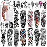 Konsait 24 Sheets Large Temporary Tattoos Full Arm and Half Arm Tattoo Sleeves Temporary Sleeve Tattoos Large Body Art Arm Chest Shoulder Tattoo Black tattoo Body Stickers for Man Women