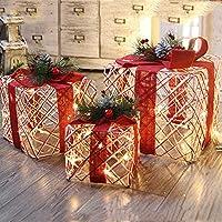 MSOO クリスマス夜光ギフトボックス ホームアウトドアデコレーション3個セット 光るパッケージ