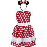 FYMNSI Little Kid Girls Vintage Sleeveless Polka Dot Birthday Party Dress with Mouse Ear Headband Halloween Cosplay Costume