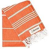 Bersuse 100% Cotton - Anatolia Hand Turkish Towel - Head Hair Face Baby Care Kitchen - 22X35 Inches, Dark Orange