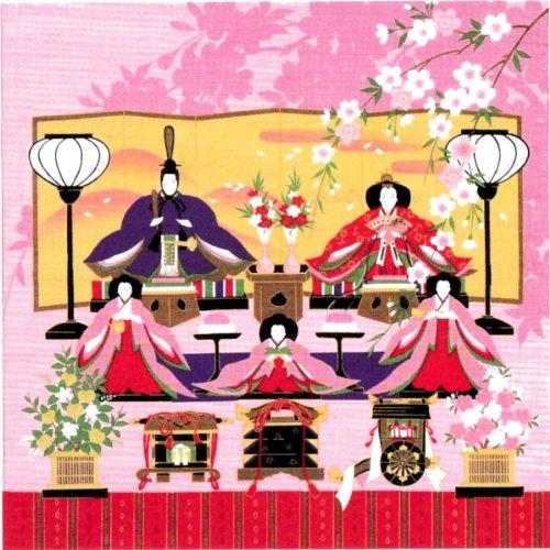 風呂敷 綿シャンタン 50㎝ 小風呂敷 ( ふろしき )43-2 彩時記 「雛祭り (ひな祭り)」 タペストリーに