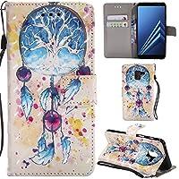 Ooboom Samsung Galaxy J6+ Plus ケース レザ 3D 手帳型 横開き カバー 革 マグネット式ド収納 スタンド機能 財布型 カード おしゃれ フリップ 捕夢網