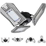 LED Garage Lights, 80W Deformable LED Garage Ceiling Lights 8000 Lumens, CRI 80 Led Shop Lights for Garage, Garage Lights wit