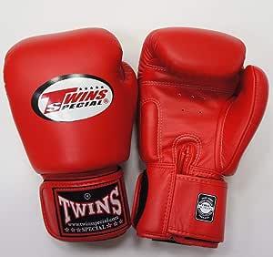 新TWINS ツインズ 本革製キックボクシング グローブ 赤 16オンス