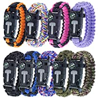 Paracord PlanetサバイバルYouth &大人用パラコードブレスレット – Comes Withフリント、Firestarter、ホイッスル、コンパス&ナイフ/ Scraper – Stay Safeキャンプ、ハイキング、釣り、in the Wilderness , & more
