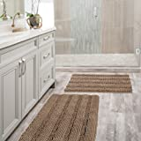 Extra Thick Chenille Bath Mats Set Non Slip Striped Bath Rugs Bathroom Rugs Mats Soft and Water Absorbent Shag Indoor Kitchen