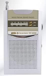 ワイドFM/AM ポケットラジオ TEP-203W ワイドFM対応 専用両耳イヤホン&クリップ付き 小型 ポータブル 名刺サイズ スピーカー内蔵 ダイヤル選局 防災グッズ 携帯ラジオ シルバー 2バンド対応