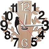 [Amazonブランド] Umi.(ウミ) 掛け時計 壁掛け 時計 見やすい 静音 ウォール クロック 鳥と木の組合 北欧 ナチュラル おしゃれ 新築祝い 転居祝い 子供部屋 誕生日 プレゼント
