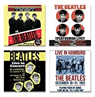 The Beatles 4 X 冷蔵庫用マグネット Live In Concert Various Designs 新しい 公式 Set
