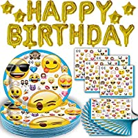 Emoji Birthday Party for 16 Plates Napkins and 17 Piece Gold Balloon Inflatable HAPPY BIRTHDAY Letter Banner [並行輸入品]