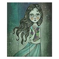 """ダイアノウチェ・デザインズ木製Plank壁アートby Amalia k.–Flower The Midnight Goddess Wood Plank 20""""w x 24""""h WPA-AmaliaKFlowertheMidnightGoddess2"""