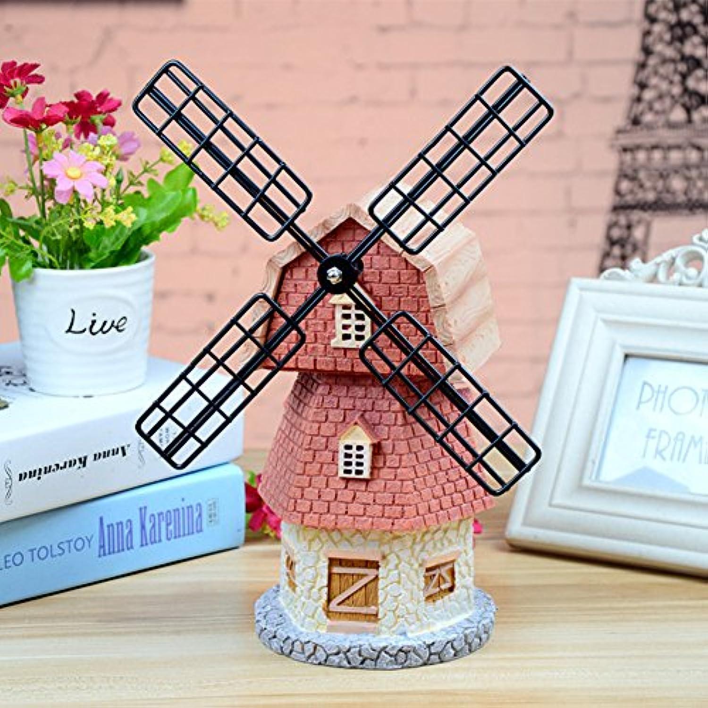 家の装飾の装飾風車オルゴール貯金箱かわいい保存,創造的なマネー貯金箱のお金ボックス- 12x19x31cm(5x7x12inch)