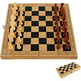 Wooden Folding Chess Board Set Portable Storage Travel Chess Set with Pieces for Kids Adults Outdoor Party Family Activities