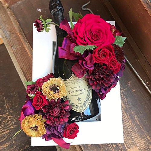 還暦祝い 赤 バラ 花 ドンペリ シャンパン 社長就任祝い お祝い ドンペリとプリザーブドフラワーの額縁アレンジ レッド