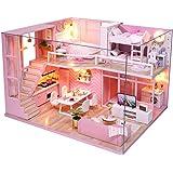 CuteBee DIY木製ドールハウス、メゾネットタイプ、手作りキットセット、ミニ家具工芸品キット、ミニチュアコレクショ…