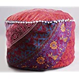 Maroon Floral Mandala Ottoman Pouf Cover Living Room Throw Decorative Round Foot Stool Pouffe