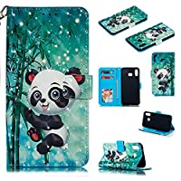 Abtory Galaxy A6S ケース,Galaxy A6S ケース Cover,Wallet ケース PU Leather 3D Painted Folio Flip Cover, Card Holder Stand ケース with Wrist Strap for Samsung Galaxy A6S Panda
