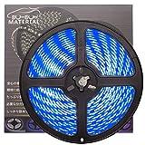 ぶーぶーマテリアル 色が綺麗なLEDテープ ブルー 青 300 LED 白ベース 5m 12V 防水