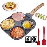 4 Egg Frying Pan - Non Stick Fried Egg Pans Divided Egg Cooker Frying Pan - Multifunction Fried Egg Burger Pan for Breakfast,
