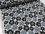 綿麻 マリメッコ風カラフル花柄小 ブラック黒 キャンバス生地  |北欧風|生地|布地|