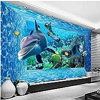 Xbwy 3D漫画の水中世界の壁画写真の壁紙-250X175Cm