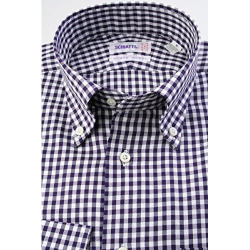 (スキャッティ) SCHIATTI 白 × パープル ギンガムチェック 綿100% 80番手双糸 ボタンダウン (細身) ドレスシャツ bd4188-4185