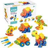 PUSITI Take Apart Toys 5 Pack Building Set 145 Pieces STEM Dinosaurs Helicopter Car Preschool Learning Construction Toys for