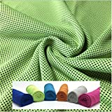 クールタオル ひんやりタオル 冷感タオル ひんやり気持ちいい 冷却グッズ 紫外線防止(UPF)50+  長さ100cm 色:グリーン