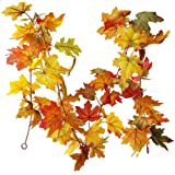M-ELEGANT 5.9Ft Artificial Maple Leaf Garland Vine Fall Leave Autumn Hanging Vine Plants for Wedding Table Thanksgiving Maple