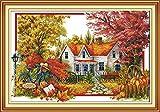 クロスステッチ刺繍キット秋の風景 田園風景 図柄印刷 初心者 ホームの装飾 (68×48cm)