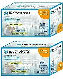 (PM2.5対応)BMC フィットマスク 使い捨てサージカルマスク レギュラーサイズ 60枚入 ×2個セット