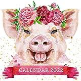 Calendar 2022: Pig Watercolor Portraits September 2021 - December 2022 Monthly Planner Mini Art Calendar With Inspirational Q