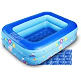 Inflatable Kiddie Pool, Baby Pool with Inflatable Soft Floor, Water Play Inflatable Bathtub for Indoor or Outdoor, Ball Pit (