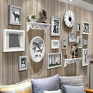 YJH+ ソリッドウッドフォトウォール現代シンプルな写真の壁の家の背景装飾フレームフォトウォール 美しく、寛大な ( 色 : D )