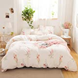 Merryword Offwhite Floral Bedding Pink Flowers Duvet Cover Set Pink Lavender Flowers Printed Design Botanical Country Style B