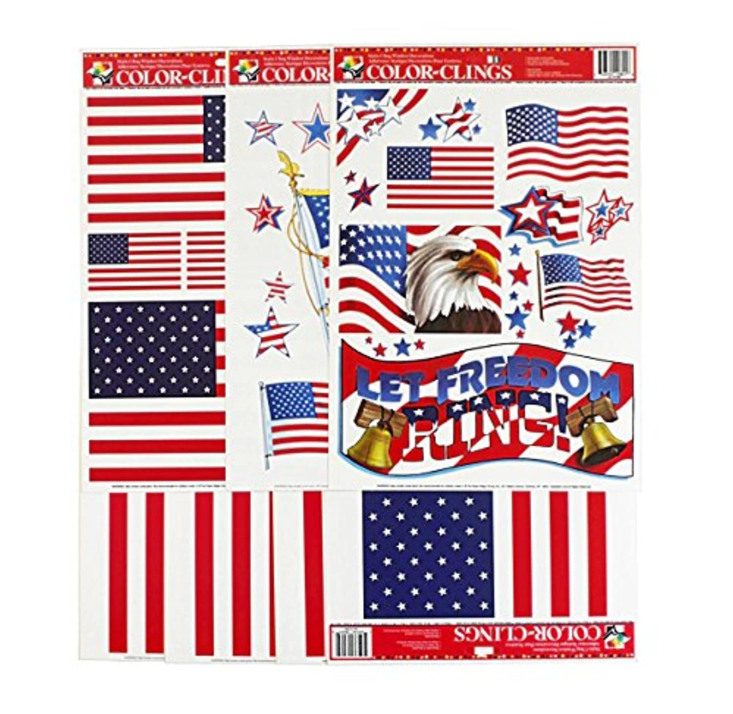 [ペーパーマジック]Paper Magic 7Sheets Window Clings American Flags 10807P [並行輸入品]