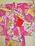 (ノーブランド品)4336 【中古】 アンティーク袖の長~い着物 子ども用 正絹ちりめん 牡丹地に御所車、花模様 ランクB