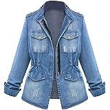 XINHEO Womens Cardi Plus-Size Stretchy Fabric Zip Up Denim Coat Jacket