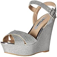 Nina Women's Jinjer Wedge Sandal Yf-Silver 8.5 M US [並行輸入品]