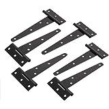 TamBee 5inch T-Strap Shed Hinge Gate Strap Light Duty Hinge Door Barn Gates Hinges Black Wrought Hardware Iron Rustproof (6)