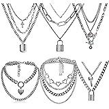 9 PCS Chains Necklace for Eboy Egirl Men Male Emo Goth Women Teen Girls Boys,2/3 Layered Lock Key Pendants Necklaces Set,Stai
