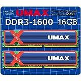 デスクトップ用DDR3 Long-DIMM 8GB ×2枚組 ヒートシンクあり (型番:UM-DDR3D-1600-16GBHS)