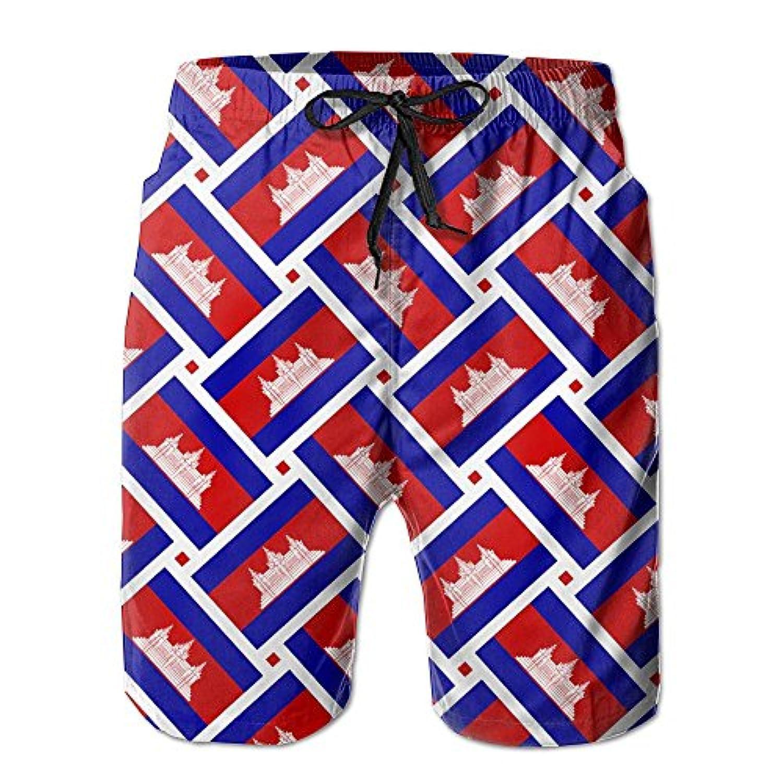 カンボジアの旗 メンズ サーフパンツ 水陸両用 水着 海パン ビーチパンツ 短パン ショーツ ショートパンツ 大きいサイズ ハワイ風 アロハ 大人気 おしゃれ 通気 速乾