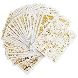 Frcolor ネイルシール 3D ネイルステッカーセット レース花 ゴールド デザイン ネイルアートシール 爪に貼るだけ 20枚セット(ランダムパターン)