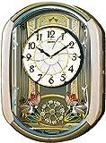 セイコー クロック 掛け時計 電波 アナログ からくり 30曲 メロディ プログラム機能 回転飾り 薄ピンク マーブル 模様 RE567G SEIKO