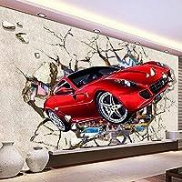 Bzbhart テレビの背景装飾画、壁用ステッカーカスタム写真の壁紙3d漫画赤い車壊れた壁画子供子供の寝室の背景壁布リビングルームの家の装飾フレスコ画-300cmx210cm